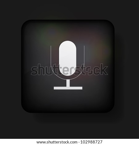 Vector microphone icon on black. Eps10 - stock vector