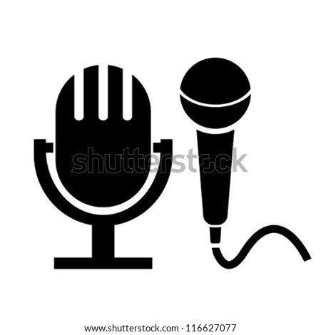 Vector microphone icons - stock vector