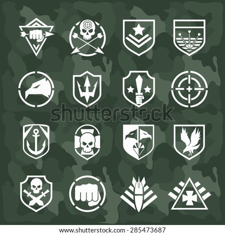 Vector military symbol icons set. Fist and sword, eagle and skull, cross arrow, rocket and anchor - stock vector