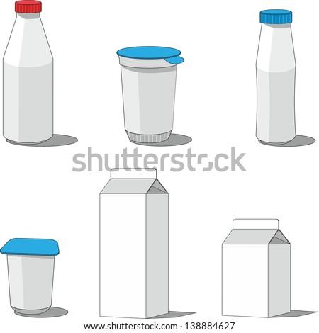 Vector. Milk packaging  set 001 - stock vector