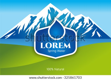 Vector Mineral Bottled Spring water logo design Label template - stock vector