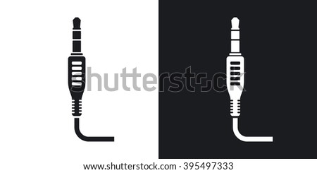 Vector mini jack plug icon. Two-tone version on black and white background - stock vector