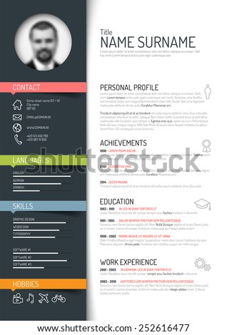 Vector minimalist cv / resume template - dark color version - stock vector