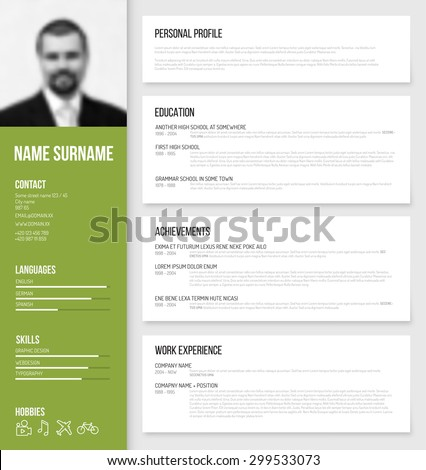 Vector minimalist cv / resume template design with profile photo - green version - stock vector