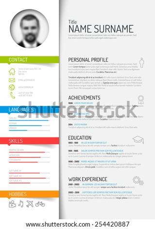 Vector minimalist cv / resume template - light color version - stock vector