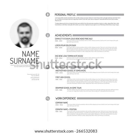 Vector minimalist cv / resume template - minimalistic black and white version - stock vector