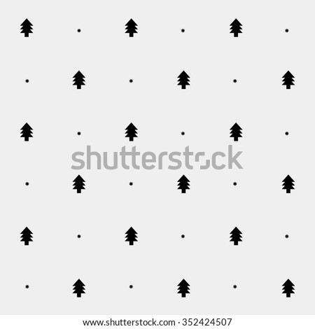 Vector minimalist monochrome black and white pattern new year christmas tree - stock vector
