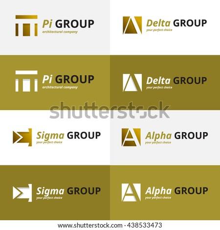 Vector minimalistic negative space greek letters logo set  - stock vector
