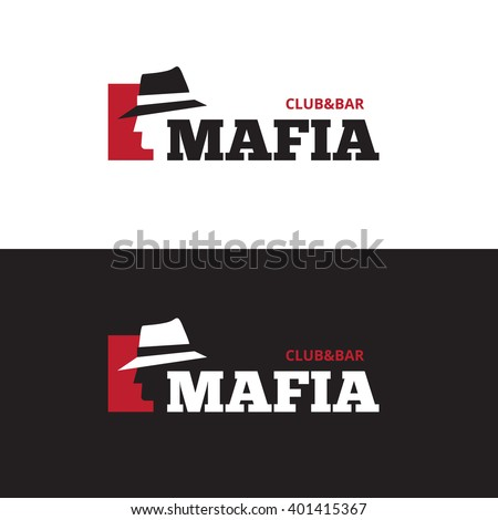 Vector minimalistic negative space man in hat logo. Mafia bar logo - stock vector