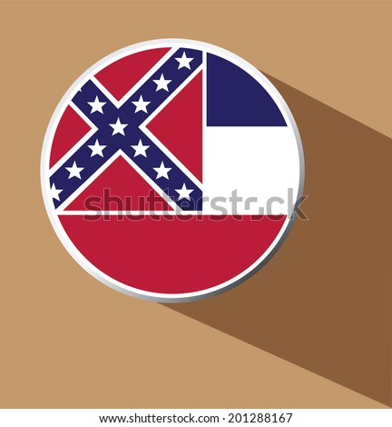 Vector - Mississippi flag button icon with long shadow - stock vector