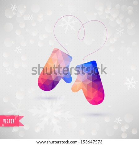 Vector Mittens With Rope In The Form Of Heart Christmas
