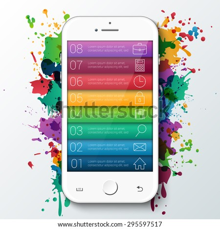 Vector mobile for infographic with bright rainbow paint splat. Template for diagram, graph, presentation and chart. Business concept with 8 options, parts, steps or processes. Abstract background. - stock vector