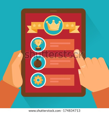 Vector mobile game concept - interface and icons in flat style, Hands holding tablet pc with touchscreen - stock vector