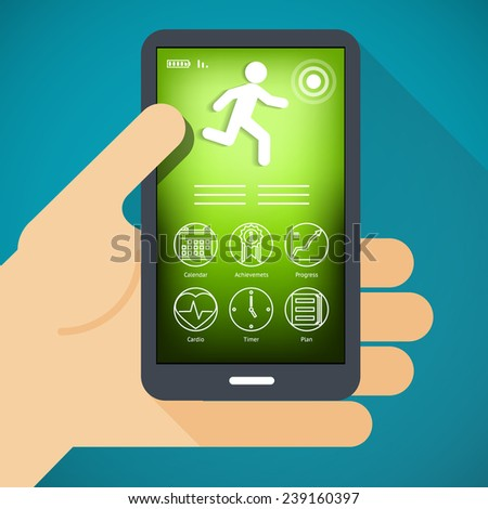 Vector mobile phone and hand in flat style-fitness app concept on touchscreen. - stock vector