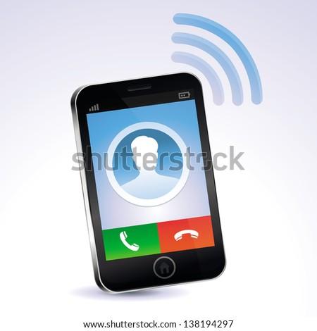 Vector mobile phone calling - touchscreen concept - stock vector