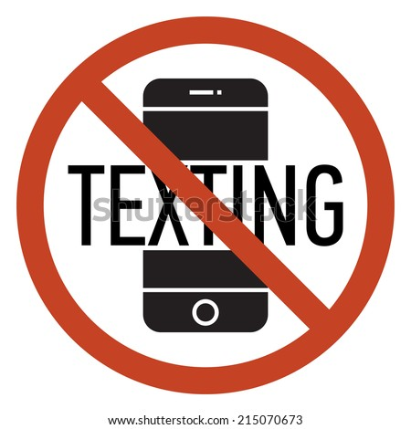 Vector mobile phone using and texting restriction round sign with white background | Texting is not allowed | No texting | Cell phone using is prohibited - stock vector