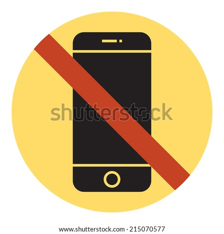 Vector mobile phone using restriction round sign with yellow background | Cell phone is not allowed | No mobile phone | Cell phone using is prohibited - stock vector