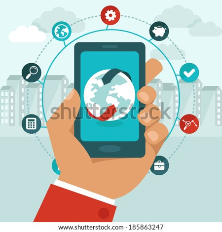 Vector mobile phone with icons in flat style -  global business concept - networking app - stock vector