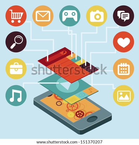 Vector mobile phone with interface screens - infographic design elements in flat retro style - stock vector