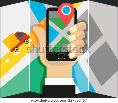 Vector mobile phone with map  - stock vector