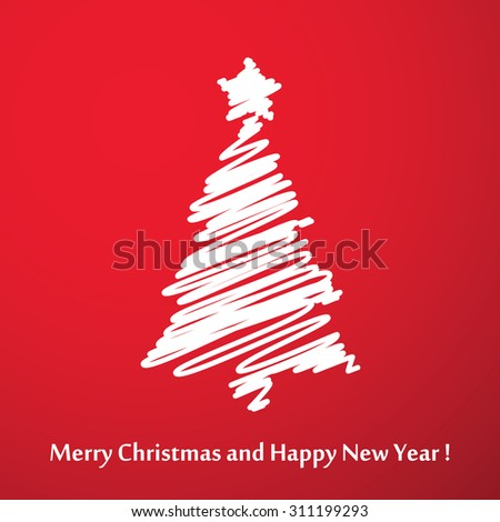 Vector modern abstract Christmas tree background. Linear design - stock vector