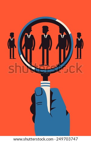 Vector modern abstract concept design on staff recruitment, talent and human resources search in business and industry with male hand studying human silhouettes with magnifying glass - stock vector