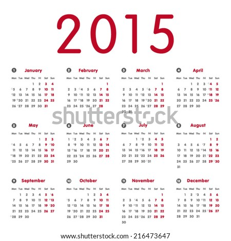 Vector modern and simple calendar 2015 with moon phases, well arranged, in red and grey.  Eps 10 vector file.  - stock vector