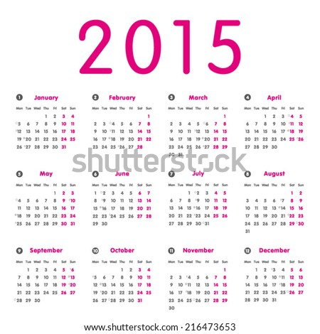 Vector modern and simply calendar 2015 with moon phases, well arranged, in pink (rose) and grey.  Eps 10 vector file.  - stock vector