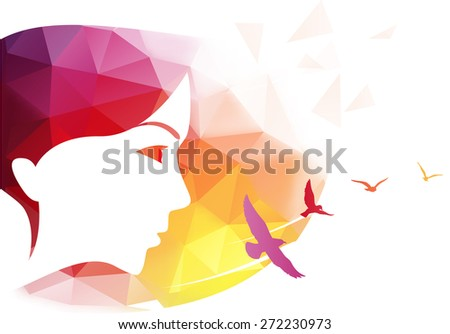 Vector modern background with woman face made of multi-colored triangles. - stock vector