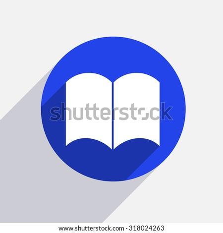 Vector modern book circle icon with shadow - stock vector