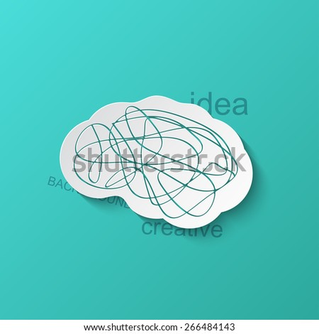 Vector modern brain icon on blue background. Eps10 - stock vector