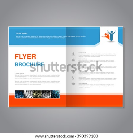 Vector modern brochure, abstract flyer with simple dotted design. Aspect Ratio for A4 size. Poster of blue, orange, grey, golden, silver and white color. Layout template, magazine cover. - stock vector