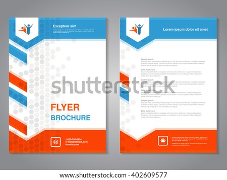 Vector modern brochure, abstract flyer with simple dotted design. Layout template with arrows. Aspect Ratio for A4 size. Poster of blue, orange, grey and white color. Magazine cover.  - stock vector