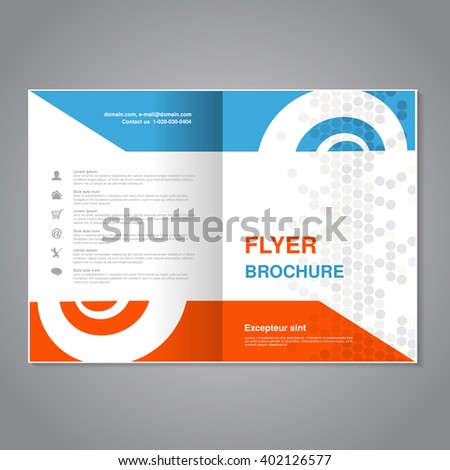Vector modern brochure, abstract flyer with simple dotted design. Layout template with snail element. Aspect Ratio for A4 size. Poster of blue, orange, gray and white color. Magazine cover. - stock vector