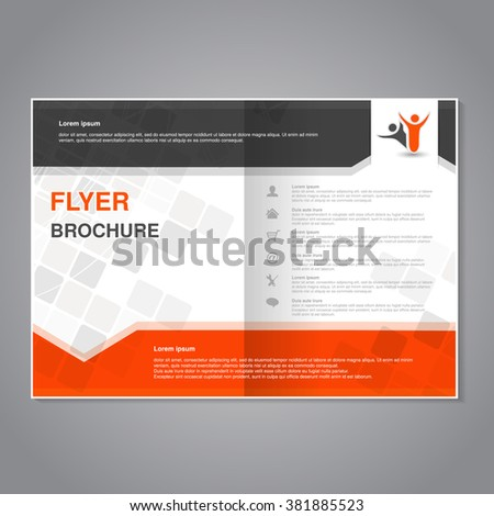 Vector modern brochure, abstract flyer with simple modern design. Aspect Ratio for A4 size. Poster of black, grey, white and orange color. Layout template, magazine cover. - stock vector