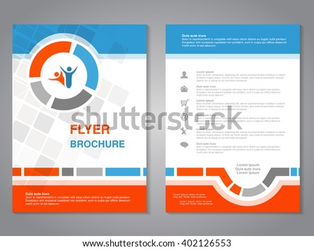 Vector modern brochure, abstract flyer with simple squared design. Layout template. Aspect Ratio for A4 size. Poster of blue, orange, gray and white color. Magazine cover with human symbol. - stock vector