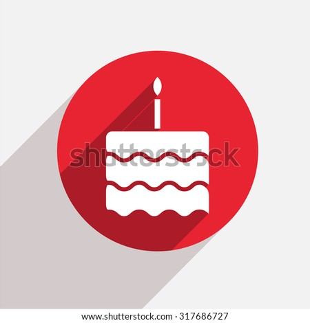 Vector modern cake red circle icon with shadow - stock vector