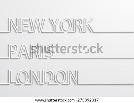 Vector modern capitals background. New york, paris, london design - stock vector