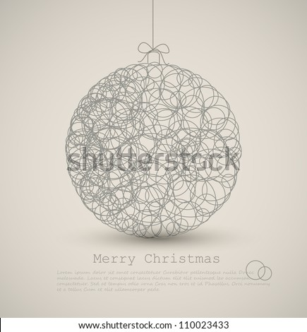 Vector modern card with abstract christmas decoration on a light background - stock vector