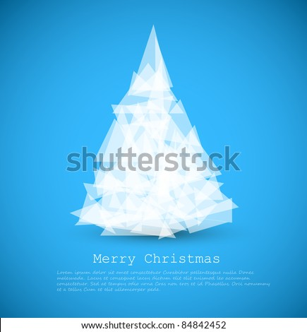 Vector modern card with abstract green christmas tree on a blue background - stock vector