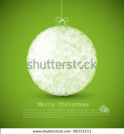 Vector modern card with abstract white christmas decoration on a green  background - stock vector