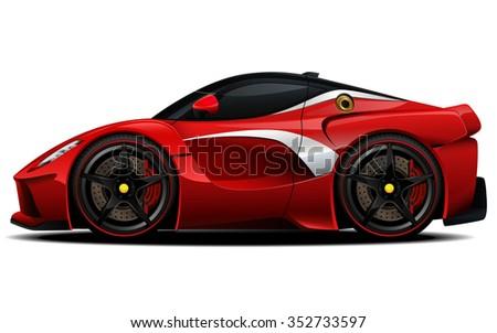 Vector modern cartoon car, sports car - stock vector