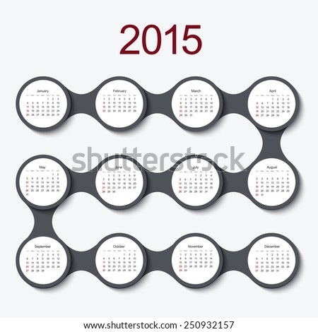 Vector modern circle 2015 calendar on white background - stock vector