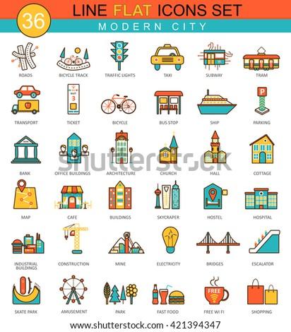 Vector modern city flat line icons set. Modern elegant style design  for web. - stock vector