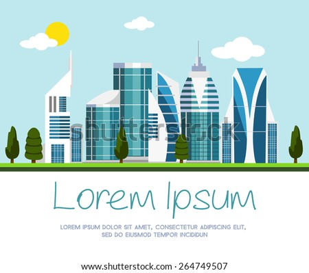 Vector modern city illustration - stock vector