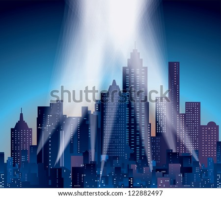 vector modern city with skyscrapers and spotlights - stock vector