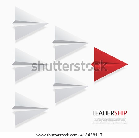 Vector modern concept leadership background. Red and white origami airplane. - stock vector