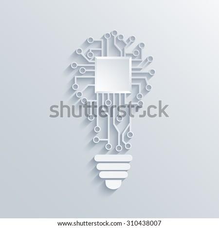 Vector modern concept light bulb with circuit board - stock vector
