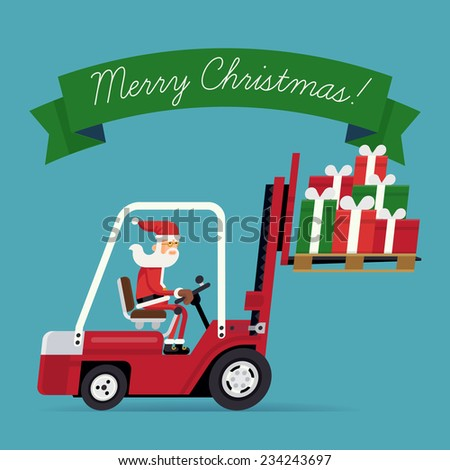 Vector modern creative concept design on christmas gifts delivery and shipping with green ribbon and sample text | Cartoon character Santa Claus riding red forklift loaded with pile of gift boxes - stock vector