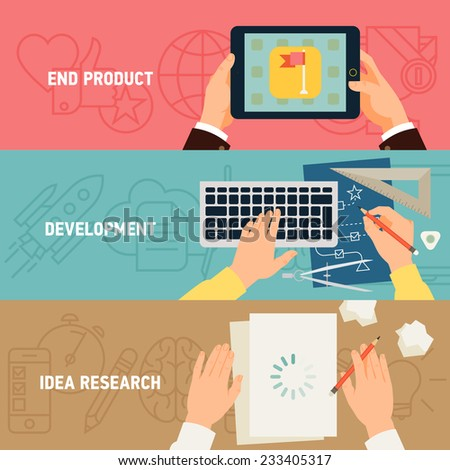 Vector modern creative concept flat design on application development stages, digital media industry, idea research, programming and end product - stock vector